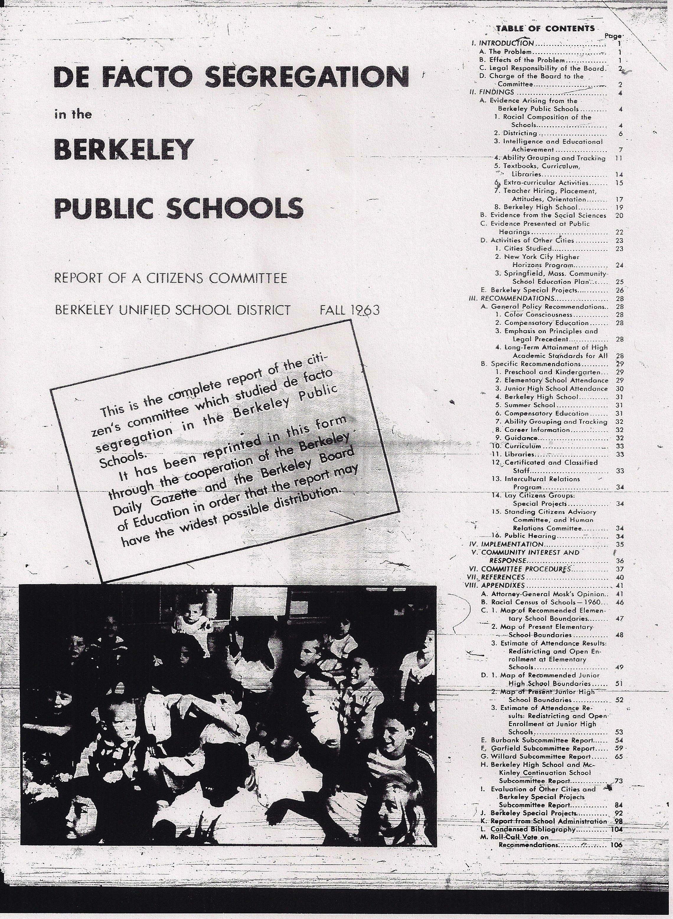 """De Facto Segregation Study Committee"" for the Berkeley Unified School District (November 1963)"